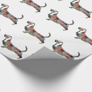Basset Hound Dog Geometric Pattern Silhouette Wrapping Paper