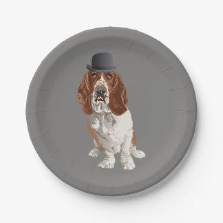 Basset Hound Dog Paper Plate