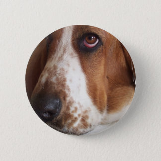 Basset Hound Dog Round Pin