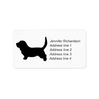 Basset Hound dog silhouette custom address labels