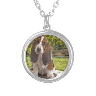 Basset Hound Dog Silver Plated Necklace