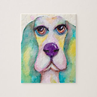 Basset Hound Dog Watercolor Art Blue Green Yellow Jigsaw Puzzle