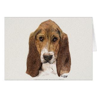 Basset Hound Dog, Watercolor Card