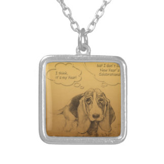 Basset Hound Dog Year 2018 Square Necklace