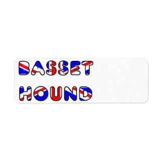 basset hound flag in name return address label