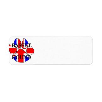 basset hound flag paw name return address label