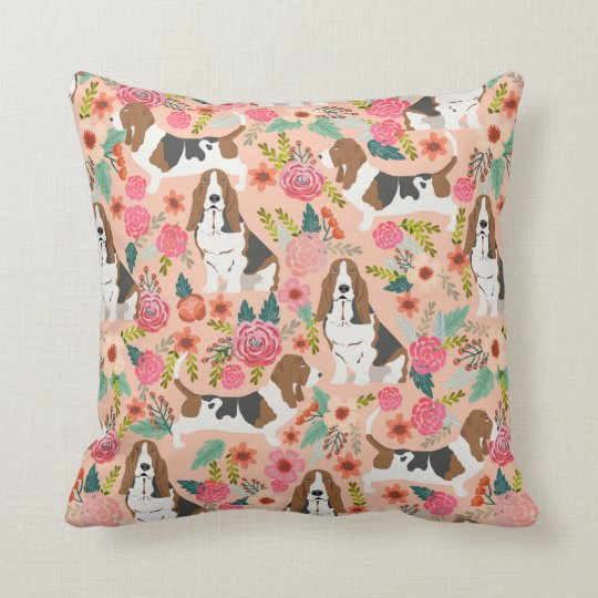 Basset hound florals dog pillow - cute dog design