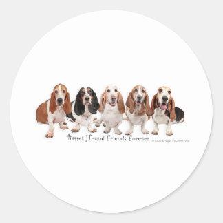 Basset Hound Friends Forever Round Sticker
