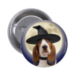 Basset Hound Halloween Button
