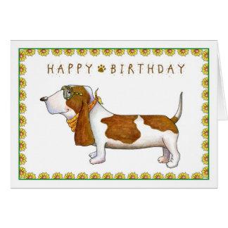 Basset Hound Happy Birthday Greeting Card