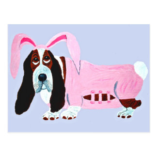 Basset Hound In Pink Bunny Suit Postcard