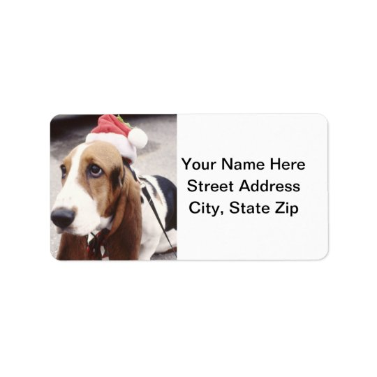 Basset Hound in Santa Hat Label