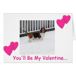 Basset hound in snow on funny Valentine's Day card