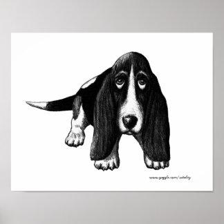 Basset hound ink pen drawing art poster
