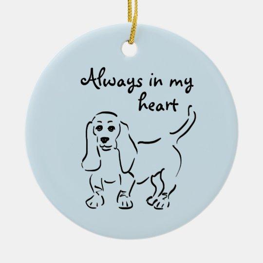 Basset Hound Keepsake - Customized Pet Loss Round Ceramic Ornament