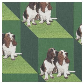 Basset Hound on Green Cubes Fabric