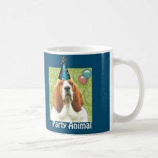 """Basset Hound on mug with """"party animal"""" logo"""