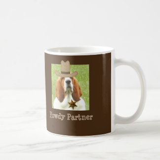 Basset Hound on Mug with sheriff badge and hat