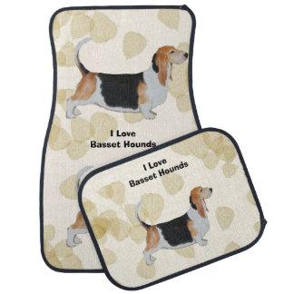 Basset Hound on Tan Leaves Auto Mat