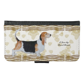 Basset Hound on Tan Leaves Galaxy S6 wallet