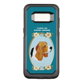 Basset Hound on Teal Floral OtterBox Commuter Samsung Galaxy S8 Case