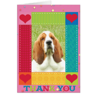 "Basset Hound on ""Thank You"" card"