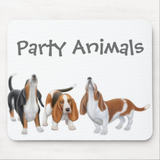 Basset Hound Party Animals Mousepad