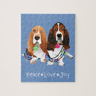 Basset Hound Peace Love Joy Christmas Design Jigsaw Puzzle