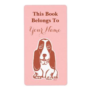 Basset Hound Pink Custom Bookplate Labels