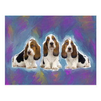 Basset Hound Puppies Postcard