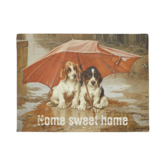Basset hound puppies under umbrella CC0925 Trood Doormat