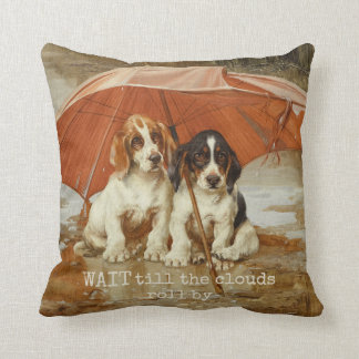 Basset hound puppies under umbrella CC0926 Trood Throw Pillow
