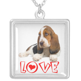 Basset Hound Puppy Dog Red Love Heart Silver Plated Necklace