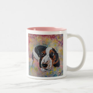 Basset Hound Puppy Original Art for Dog Lovers Two-Tone Coffee Mug