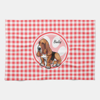 Basset Hound; Red and White Gingham Kitchen Towel
