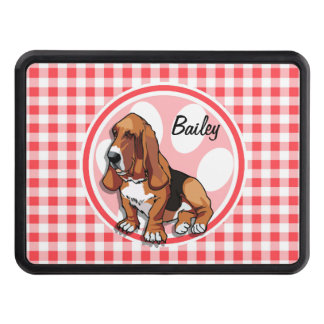 Basset Hound; Red and White Gingham Tow Hitch Cover
