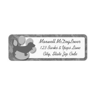 Basset Hound Silhouette Return Address Label