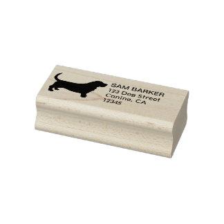 Basset Hound Silhouette Return Address Rubber Stamp