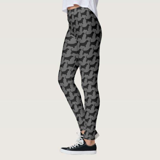 Basset Hound Silhouettes Pattern Leggings