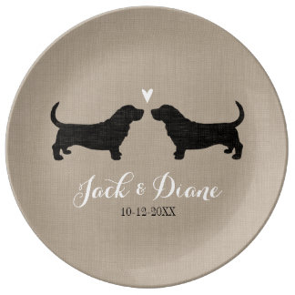 Basset Hound Silhouettes with Heart Plate