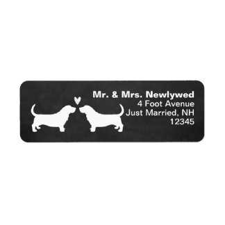 Basset Hound Silhouettes with Heart Return Address Label