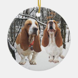 Basset Hound Snowy Woods Christmas Ornament