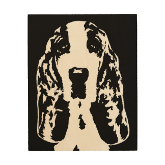 "Basset Hound Stencil Wood 8""x10"" Wall Art"