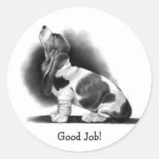BASSET HOUND STICKER: Good Job! PENCIL ART Classic Round Sticker