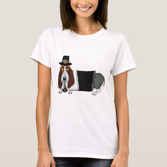 Basset Hound Thanksgiving Pilgrim T-Shirt