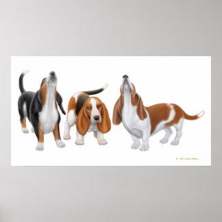 Basset Hound Trio Print