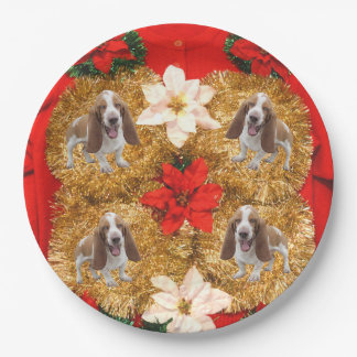 Basset Hound Ugly Christmas Sweater Paper Plate