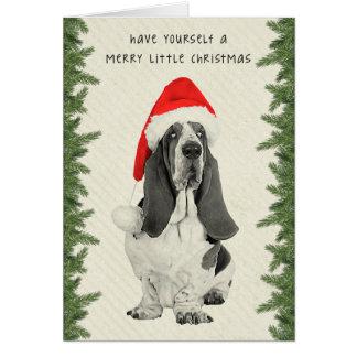 Basset Hound Vintage Style Christmas Card