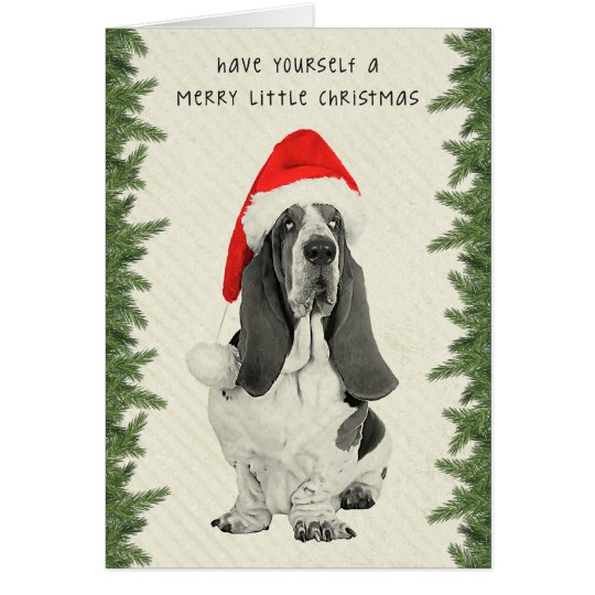 Basset Hound Vintage Style Christmas Card