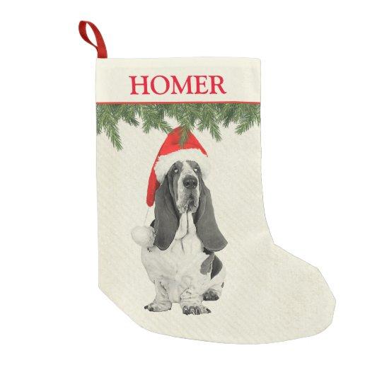 Basset Hound Vintage Style Small Christmas Stocking